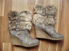 @ ju 'a @ Ankle Boot Grey fur Trim Gr. 38 Uk 5 Us 7 Blue Gray Faux Fur