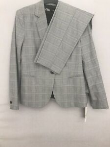 BNWT ZARA GREY AND BLUE CHECK TROUSER AND BLAZER SUIT SIZE 12