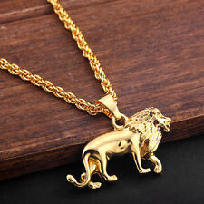 "Lion Pendant 28"" Gold Tone Metal Chain Animal Charm Necklace Men's Gift Jewelry"
