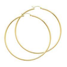 14K Gold 2mm x 65mm Hoop Earrings EJER22219