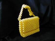 Ann Robin Beaded Purse Italy Bright Yellow Zippered Vtg Flap