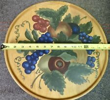 vintage Wolverine Mich. Dowel Works hand painted Wood Tray fruit design 15 3/4""