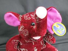 NEWS SILVER GLITTER ROSE FLOWER BURGUNDY ELEPHANT GOOD LUCK ANIMAL PALS PLUSH