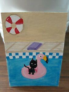 Aceo Original painting Cat Swimming Flamingo Float Art Card