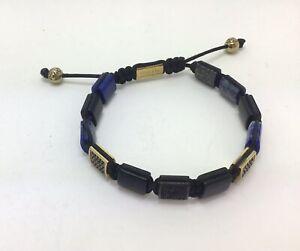 "Nialaya Dorje Flatbead Blue Lapis and Matt Onyx  Bracelet, 7""/18cm, RRP £285"