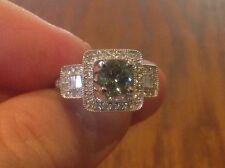 Blue/Green Round VVS1 Tanzanite and Diamond 14K White Gold Ring