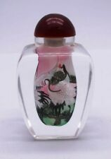 More details for chinese reverse hand painted birds cased glass snuff bottle & presentation box