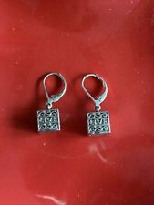 Live Laugh Love Cube Pierced Dangle Light Weight  Earrings Maybe SILVER ❤️tb5m