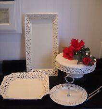Fine Porcelain Plates - Four Piece Lattice by Nicole's Lace