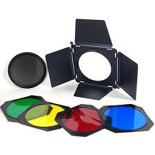 Kit Aletta Taglialuce A112 Flash Barndoors Griglia Nido d'Ape 4 Filtri Colorati