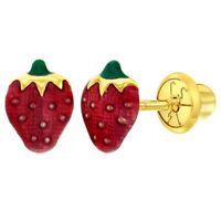 14k Yellow Gold Red Strawberry Earrings Fruit Toddler Kids Screw Back