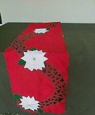 "Christmas Embroidered Table Runner & 8 Napkins Red W/White Poinsettias 70"" x 13"