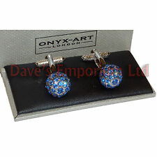 Swarovski Sapphire Clear Crystal Ball Cufflinks - Onyx Art - Gift Boxed Ladies