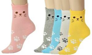 Vinsani® Cat Dog Owl Pet Animal Cute Print Socks 5 Pairs Pack - OneSize Fits all