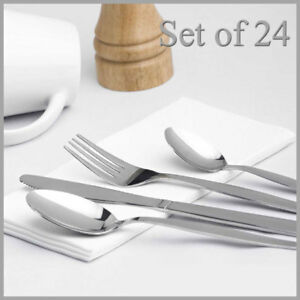 24 Pcs Stainless Steel Cutlery Set , Knives Forks Spoons Teaspoons Family Guests