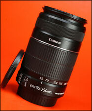 Canon EF-S 55-250mm F4-5.6 Image Stabilizer IS MK II AF Zoom Lens +F/R Lens Caps