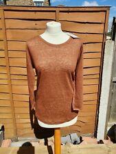 Poetry Scoop Neck Linen Long Sleeved T-Shirt - Rust Brown  RRP £49 - Choose Size