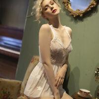 White Lace Ladies Pajamas Women Sexy Lingere for brides Underwear Sleepwear XS-L