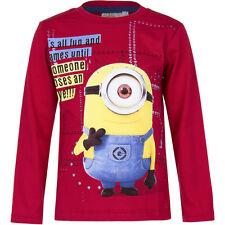Nuevo Jersey Camisa Manga Larga Niños Minions Azul Rojo 104 110 116 122 128 134