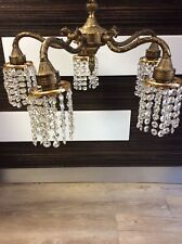 Vintage Brass And Crystal Chandelier Ceiliing Light Fitting