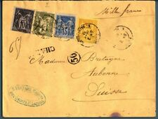 FRANCIA - 1883 - Grenier St Lazare-Aubonne - 1876/1880 Type Sage 10+15+25c. 1fr