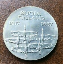 """FINLAND SILVER 10 MARKKAA 1967 (""""50 YEARS OF INDEPENDENCE"""") UNC!"""