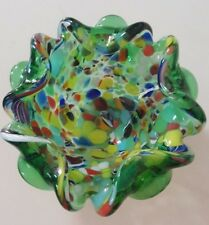MURANO ITALY MILLEFIORI HANDBLOWN CANDY DISH WITH A RAINBOW OF COLORS