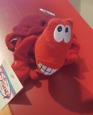 """Walt Disney 8"""" Sebastian Red Crab Mini Bean Bag Beanie The Little Mermaid tags"""