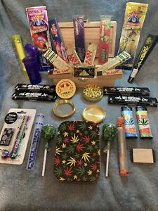 DELUXE STONERS GIFT SET SUPER WOODEN SMOKERS ROLLING BOX GRINDERS+EDIBLES