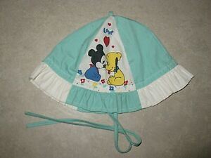 VINTAGE DISNEY MICKEY MOUSE BLUE COTTON SUN BUCKET CAP HAT GIRL'S BABY 12-24 MOS