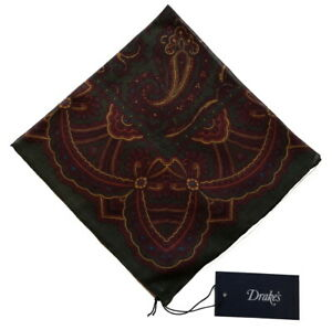 Drake's Pocket Square  Forest green Vintage paisley Cotton/modal/cashmere