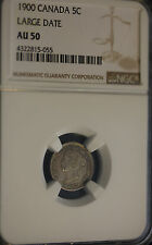 """**1900 Large Date """"Round """"O""""**, NGC Graded Canadian,  5 Cent, **AU-50**"""