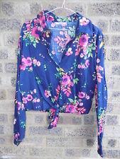 Ladies vintage navy blue & pink tie front hawaiian shirt by Alia