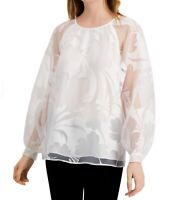 Alfani Womens Blouse White Size XL Floral Shadow Burnout Solid Sheer $89- 512