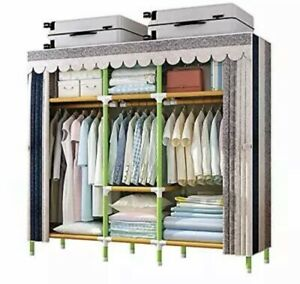 YOUUD 65 Inches Wardrobe Storage Closet Portable Closet Shelves, Colored Rod Clo