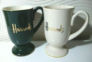 2 X HARRODS COFFEE MUGS LOGO GREEN GOLD CREAM