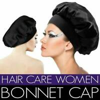 Silk Satin Women Night Sleep Cap Hair Bonnet Hat Head Cover Wide Band Elastic .