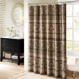 """Luxury Mocha Brown Leaf & Ironwork Motif Fabric Shower Curtain - 72"""" x 72"""""""