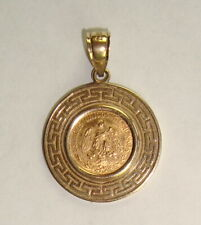 1945 Mexico Gold 2 Pesos Coin & 14K Yellow Gold Bezel Pendant, 4.49 grams