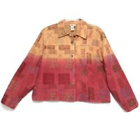Coldwater Creek Embroidered Jean Jacket Womens XXL 2XL Faded Orange Red Ombre