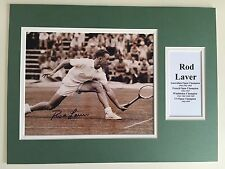 """Tennis Rod Laver Signed 16"""" X 12"""" Double Mounted Display"""