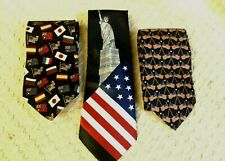 STARS & STRIPES NECKTIES RED, WHITE & BLUE, SILK, POLYESTER, PICK YOUR CHOICE