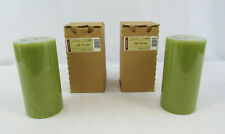 New Longaberger Pair Of Sage Flower 3x6 Candle Pillars #71540438