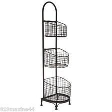 "**New**37 1/2"" Black 3-Tier Wire Basket Stand, versatile fruits/Veg, Hats/Mitts"