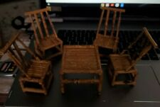 Vintage Rattan Table & Chairs DOLLHOUSE FURNITURE MINIATURES