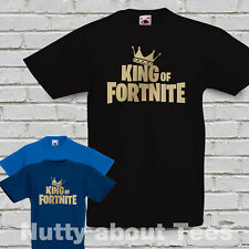 KIDS KING OF FORNITE VICTORY ROYALE T SHIRT GOLD PRINT FORNITE GAMING TEE