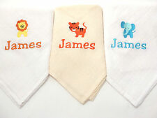 Personalised Embroidered Baby Safari Muslin Square Set of 3 With Babies Name