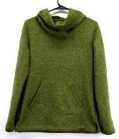 Eddie Bauer Women's Small Turtleneck Long Sleeve Fleece Sweater Hoodie Green