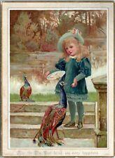 1883 Victorian Greeting Card Happy New Year Girl Feeding Peacocks Art