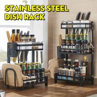 3Tier Dish Drainer Rack Stainless Steel Storage Drying Kitchen Worktop Organizer
